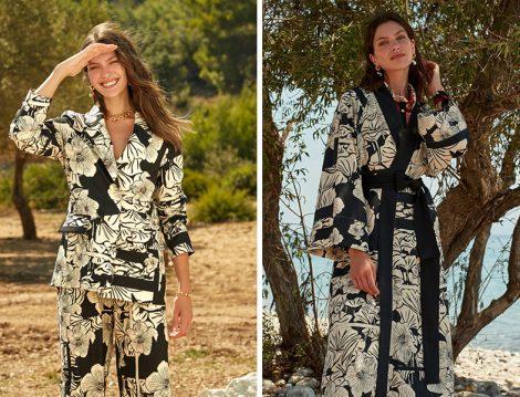 LC Waikiki & Oopscool Siyah Baskılı Çiçek Desenli Blazer Ceket ve Salaş Kimono