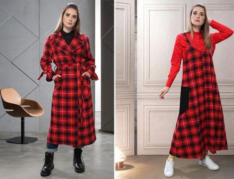 SAHRA AFRA Kırmızı Ekose Trençkot ve Elbise