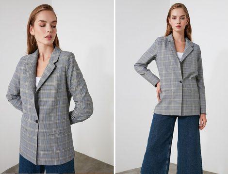 Trendyolmilla Ekose Blazer Ceket