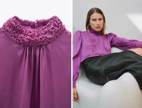 Zara Mor Küçük Fırfırlı Dökümlü Bluz ve Deri Etek