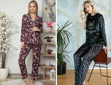 Artış Collection Desenli Pijama - Lingabooms Kadife Pijama Takımı