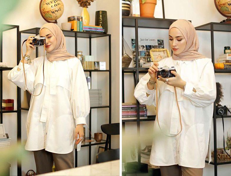 Freshscarf Penye Şal -Manuka Beyaz Gömlek (Sena Sever)