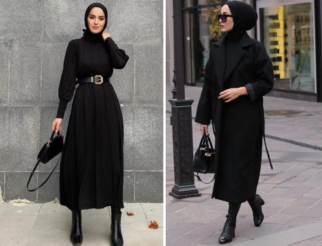 Kayra Siyah Balon Kol Triko Elbise (Eda Cömert) - Dilara Nazan Ertan Siyah Kuşaklı Oversize Kaban
