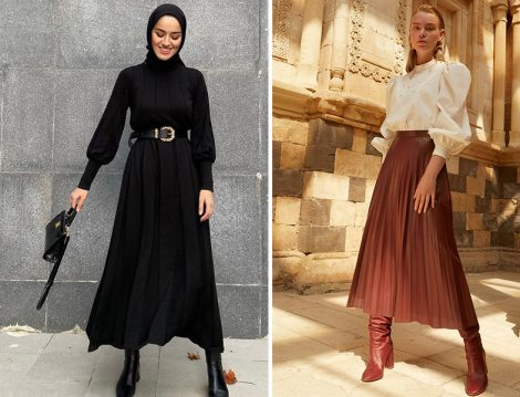 Kayra Triko Elbise ve Deri Pliseli Etek