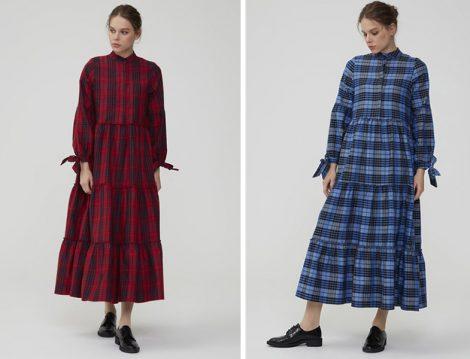 Normcore Kırmızı Kolu Bağlamalı Kaşmir Ekose Elbise