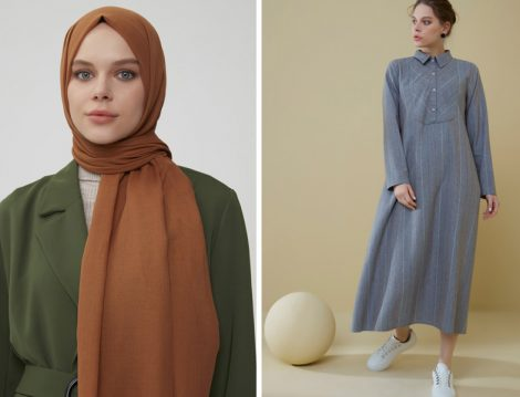 Normcore Pamuklu Şal ve Çizgili Elbise