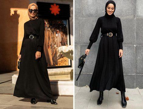 Refka Siyah Triko Elbise (Elif Küçüksarı) - Kayra Siyah Triko Elbise (Eda Cömert)