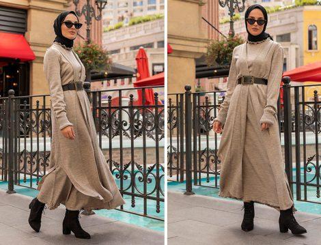 Refka Vizon Triko Elbise (Elif Küçüksarı)