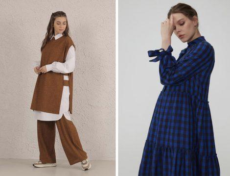 He-qa Süveter Takım - Normcore Pötikare Elbise
