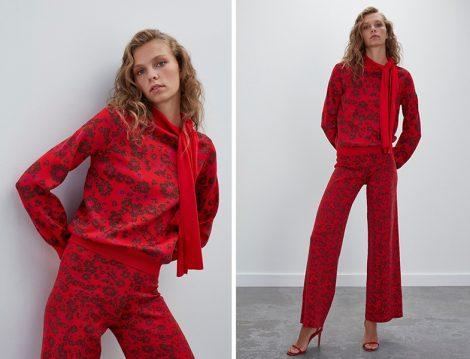 Join Us Çiçek Desenli Triko Bluz&Pantolon Takım