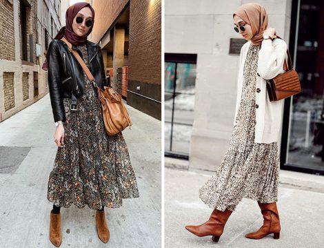 H&M Desenli Elbise ve Zara Deri Ceket - H&M Desenli Elbise ve Hırka (Elif Doğan)
