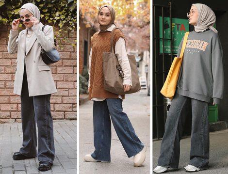 Wide Leg Denim Pantolon ile Blazer Ceket-Süveter-Sweathirt Kombinleri (Aleyna Atalar)