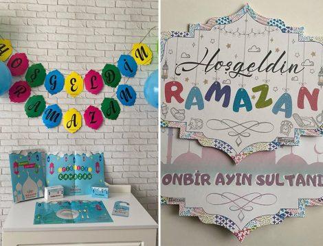 Çocuklara Özel Ramazan Süsleme Kart ve Balonları