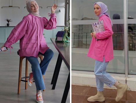 Hooop Store Pembe Tunik-Jean Pantolon (Kübra Doğan) - Aybikestil Pembe Sweat- Jean Pantolon (Şeyda Ateştepe)