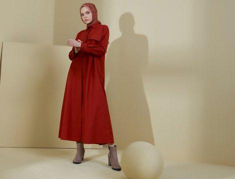 Normcore Tarçın Gizli Düğmeli Uzun Tunik Elbise
