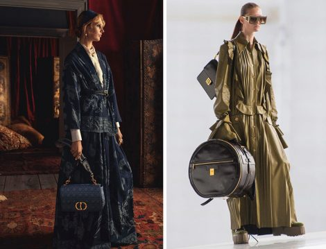 Dior Lacivert Jardin Motifli Kuşaklı Pamuklu Denim Palto Ceket - Balmain Haki Üniforma Elbise