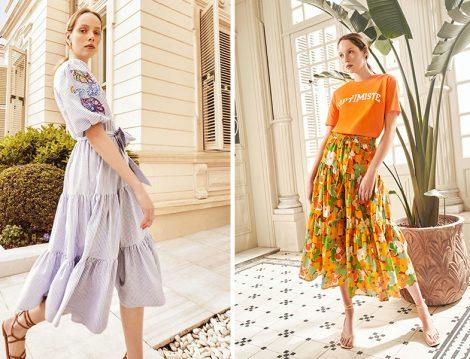 Koton Skirtly Yours Styled by Melis Ağazat Koleksiyonu Çizgili Elbise - Çiçekli Etek ve Tişört