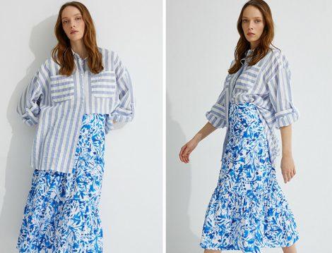 Koton Skirtly Yours Styled by Melis Ağazat Mavi Çizgili Gömlek ve Çiçekli Etek
