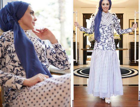 Rohs Fashion Büzgülü Desenli Uzun Elbise -ÜmmüGülsüm Elkhatroushi