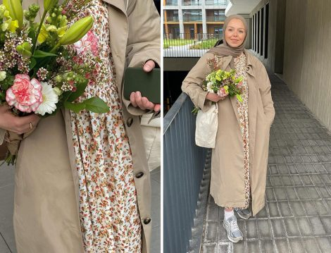 Çiçekli Elbise - Trençkot Kombini