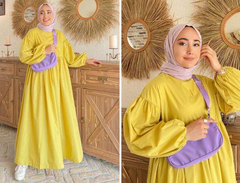Aybike Stil Sarı Elbise (Kardelen)