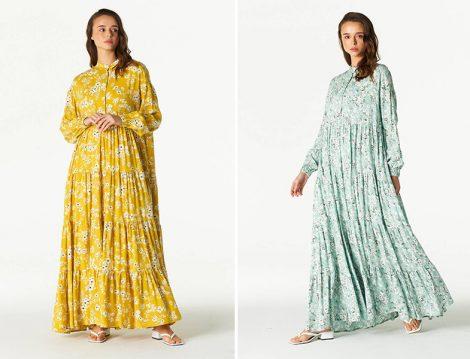 Aybikestil Sarı ve Mint Yeşili Çiçekli Elbise