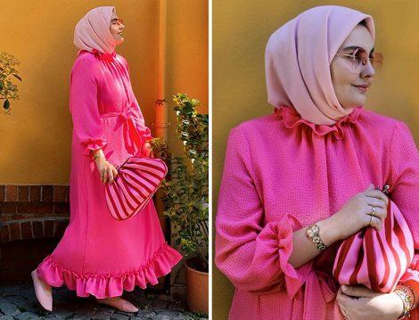 Merve Dağlı Pembe Elbise