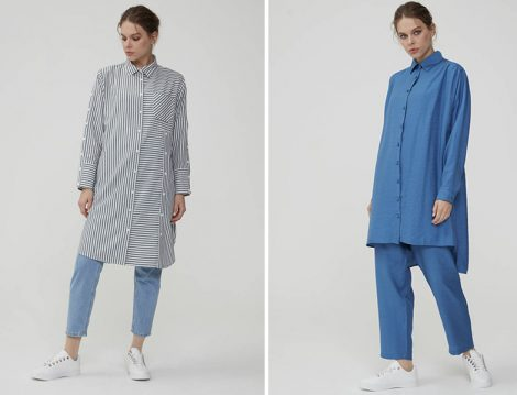 Normcore Çizgili Tunik ve Mavi İkili Takım