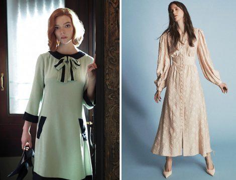 The Queens Gambit Fiyonk Yaka Detay Elbise - Latifa Elbise