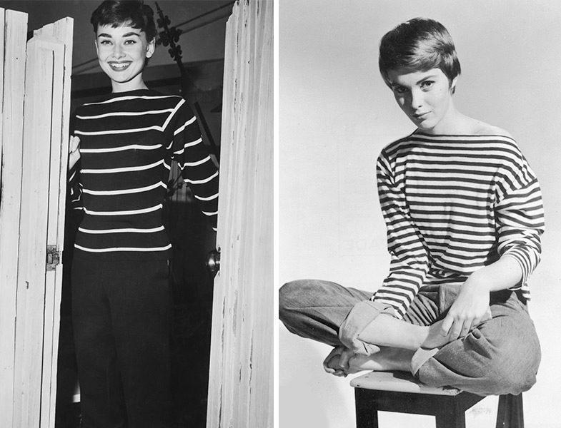 Çizgili Tişört Modası (Audrey Hepburn ve Jean Seberg)