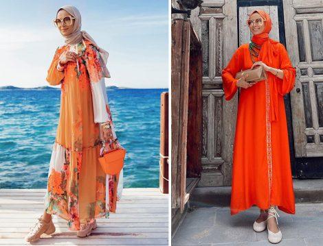 Yaqa Desenli Elbise - Touche Turuncu Elbise (Betül Gedik)