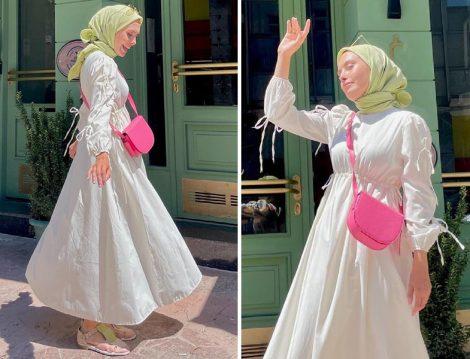 Fahhar Ekru Bağlamalı Elbise - Emine Nur Semiz