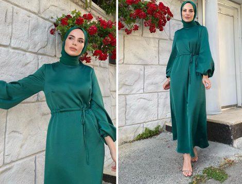 Fuga Design Zümrüt Abiye Elbise - Elif Küçüksarı