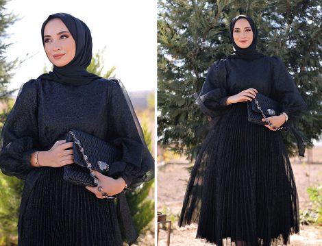 Vesna Design Siyah Tüllü Abiye - Sena Sever